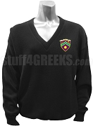 Gamma Eta V-Neck Sweater with Crest, Black