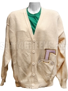 Gamma Gamma Chi Big Varsity Letter Cardigan with Organization Name, Cream