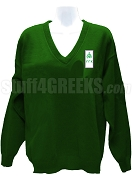 Gamma Gamma Chi V-Neck Sweater with Crest, Forest Green