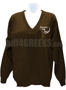 Gamma Phi Beta V-Neck Sweater with Embellished Crescent Moon, Brown