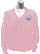 Gamma Phi Delta V-Neck Sweater with Crest, Pink