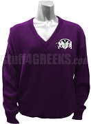 Gamma Rho Lambda V-Neck Sweater with Crest, Purple