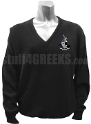 Gamma Xi Phi V-Neck Sweater with Crest, Black
