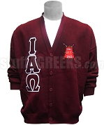 Iota Alpha Omega Greek Letter Cardigan with Crest, Maroon