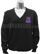 Iota Chi Kappa V-Neck Sweater with Crest, Black