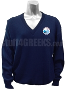 Jack & Jill V-Neck Sweater with Crest, Navy Blue
