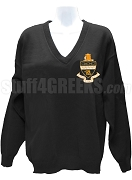 Kappa Alpha Theta V-Neck Sweater with Crest, Black
