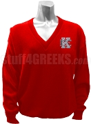 Kappa Epsilon V-Neck Sweater with Crest, Red