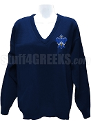 Kappa Kappa Gamma V-Neck Sweater with Crest, Navy Blue