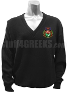 Kappa Lambda Delta V-Neck Sweater with Crest, Black