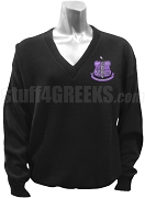 Kappa Lambda Xi V-Neck Sweater with Crest, Black
