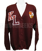 Kappa League Cardigan with Letters and Crest, Crimson