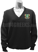 Kappa Phi Gamma V-Neck Sweater with Crest, Black