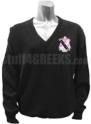 Kappa Phi V-Neck Sweater with Crest, Black