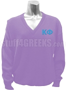 Kappa Phi Club V-Neck Sweater with Greek Letters, Lavender
