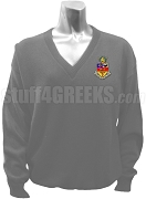 Kappa Psi V-Neck Sweater with Crest, Gray