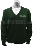 Kappa Xi Omega V-Neck Sweater with Basic Letters, Forest Green