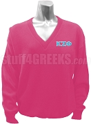 Kappa Zeta Phi Greek Letter V-Neck Sweater, Magenta