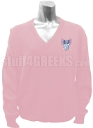 Lambda Omicron Delta V-Neck Sweater with Crest, Pink