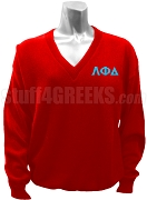 Lambda Phi Delta V-Neck Sweater with Greek Letters, Red