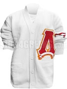 Lambda Pi Chi Big Varsity Letter Cardigan with Striped Sleeve, White