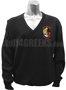 Lambda Pi Upsilon V-Neck Sweater with Crest, Black