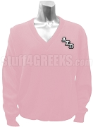 Lambda Sigma Pi V-Neck Sweater with Logo Letters, Pink
