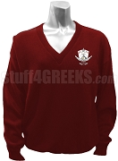 Lambda Theta  Nu V-Neck Sweater with Crest, Crimson