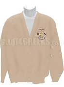 Lambda Theta Phi Greek Letter Cardigan with Embellished  Crest, Cream