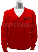 Omega Tau Pi V-Neck Sweater with Greek Letters, Red