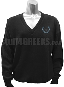 Omicron Delta Kappa V-Neck Sweater with Crest, Black