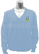 Phi Beta Chi V-Neck Sweater with Crest, Azure Blue