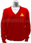 Phi Delta Kappa V-Neck Sweater with Crest, Red