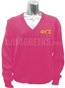 Phi Gamma Sigma V-Neck Sweater with Greek Letters, Pink