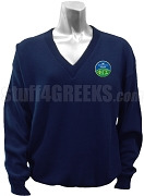 Phi Gamma Sigma V-Neck Sweater with Crest, Navy Blue