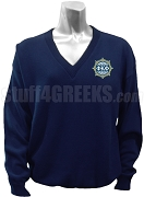 Phi Kappa Phi V-Neck Sweater with Crest, Navy Blue