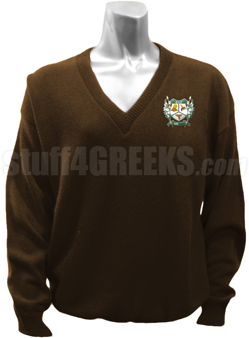 Phi Lambda Rho V Neck Sweater With Crest Brown