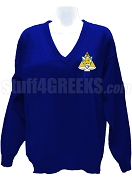 Phi Sigma Sigma V-Neck Sweater with Crest, Royal Blue