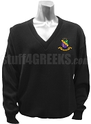 Phi Sigma Theta V-Neck Sweater with Crest, Black