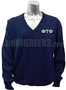 Phi Tau Phi V-Neck Sweater with Greek Letters, Navy Blue
