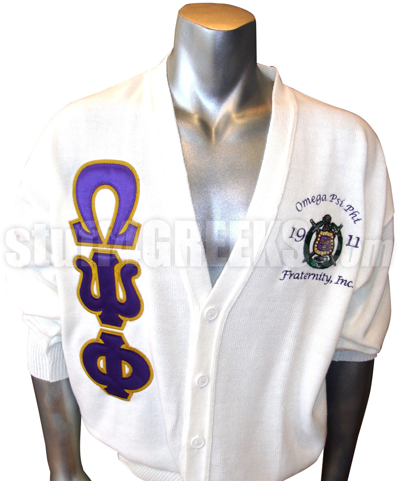 White Omega Psi Phi Cardigan With Letters And Embellished Crest