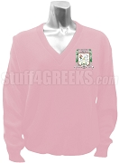 Rho Delta Chi Sorority V-Neck Sweater with Crest, Pink