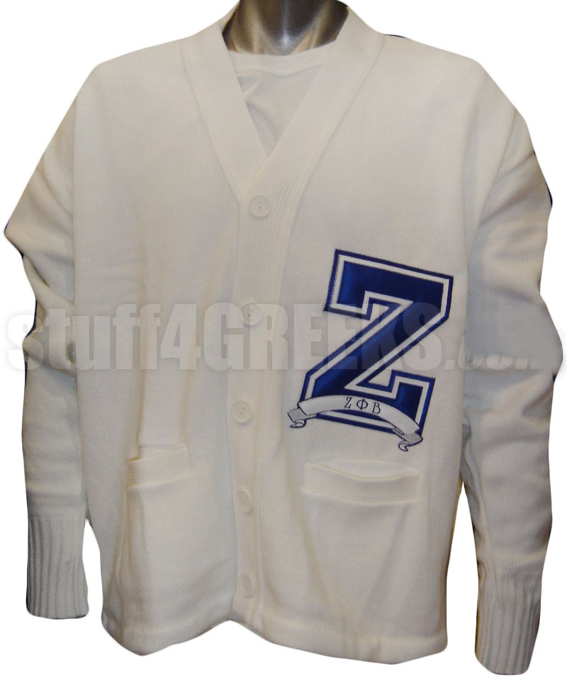 White Zeta Phi Beta Varsity Letter Cardigan With Large Z
