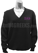 Sigma Alpha Beta V-Neck Sweater with Greek Letters, Black
