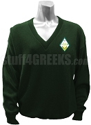 Sigma Alpha V-Neck Sweater with Crest, Forest Green