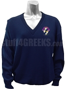Sigma Alpha Epsilon Pi V-Neck Sweater with Crest, Navy Blue