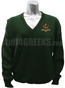 Sigma Alpha Omega V-Neck Sweater with Crest, Forest Green