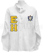 EH Greek Letter Cardigan with Sigma Gamma Rho Crest, White