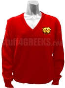 Sigma Iota Sigma Multicultural Sorority V-Neck Sweater with Crest, Red