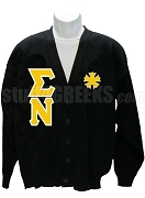 Sigma Nu Greek Letter Cardigan with Crest, Black